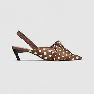Zara Polka Dot Slingback Shoes BNWT